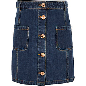 Girls blue denim button-up skirt