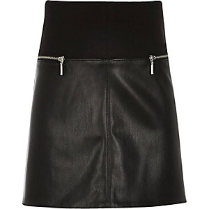 Girls black leather-look A-line skirt