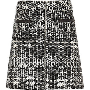 Girls black metallic jacquard skirt