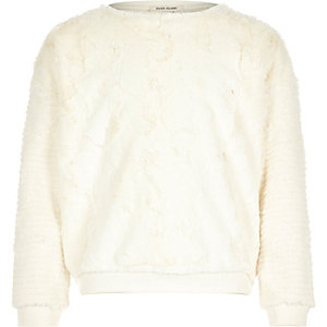 Girls cream faux fur sweatshirt