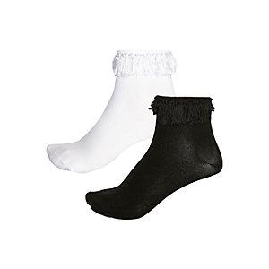 Girls black and white tassel socks pack