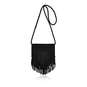 Girls black fringed cross body bag