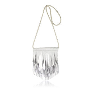 Girls grey fringed cross body bag