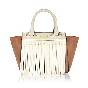 Girls brown fringed winged tote bag