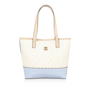 Girls cream crosshatch shopper