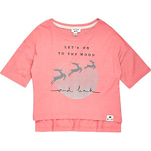 Mini girls pink reindeer print t-shirt