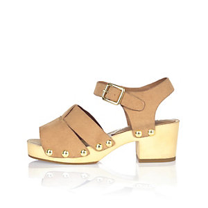 Girls brown studded clog sandals