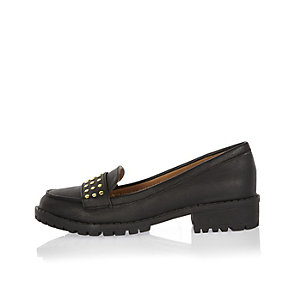 Girls black studded cleated loafers