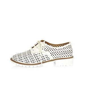 Girls white laser cut lace-up shoes