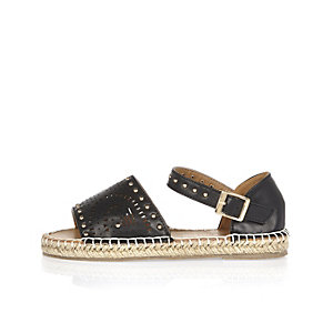 Girls black laser cut espadrilles