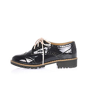 Girls navy lace-up brogues