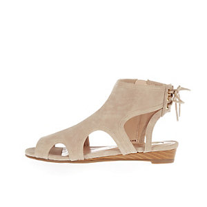 Girls cream cut-out wedge sandals