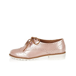 Girls pink lace-up brogues