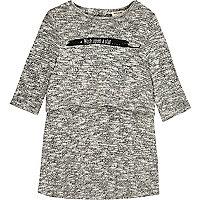 Mini girls grey slogan layered dress