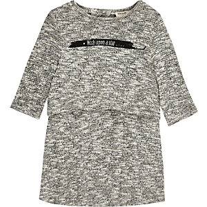 Mini girls grey slogan layered dress