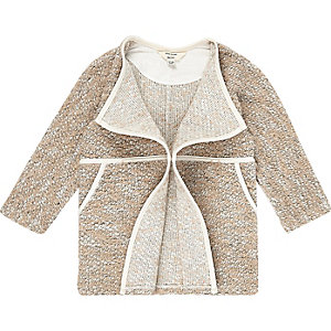 Mini girls cream fallaway front coat