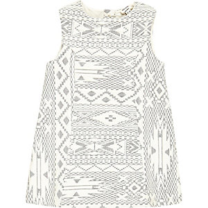 Mini girls cream geometric shift dress