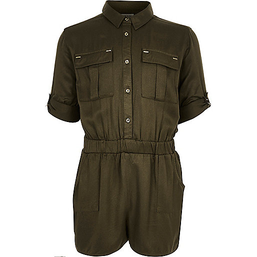 Girls dark green minimal playsuit