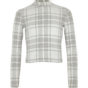 Girls grey check turtle neck top