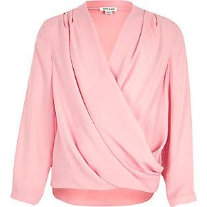 Girls pink draped wrap front blouse