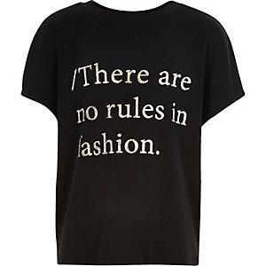Girls black ribbed slouchy slogan t-shirt