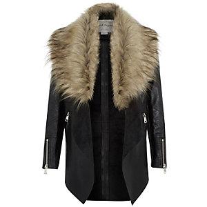 Girls black leather-look waterfall jacket