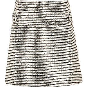 Girls grey textured A-line skirt