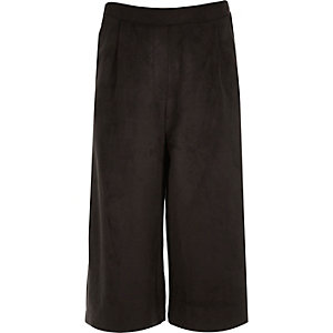 Girls black faux suede culottes