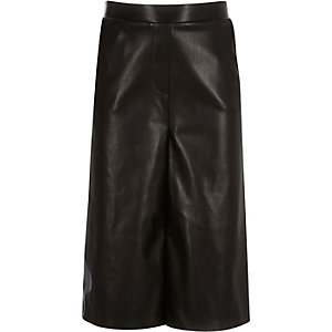 Girls black leather-look culottes
