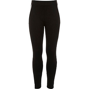 Girls black leather-look side panel leggings