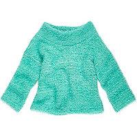 Mini girls green cowl neck sweater