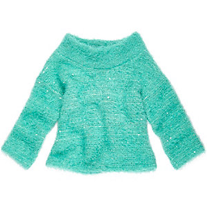 Mini girls green cowl neck sweater