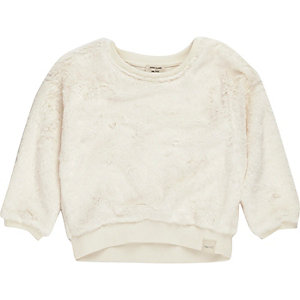 Mini girls cream furry sweatshirt