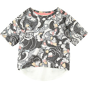 Mini girls black floral print t-shirt