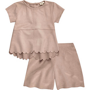 Mini girls pink faux suede outfit