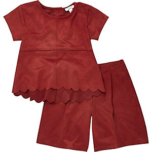 Mini girls red faux suede top culottes outfit