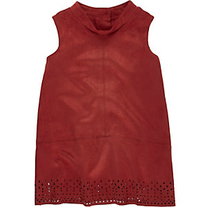 Mini girls red faux suede dress