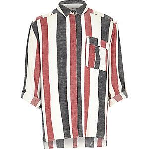 Girls cream stripe jacquard shirt
