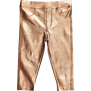 Mini girls metallic bronze leggings