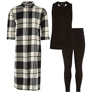 Girls black check shirt top leggings outfit