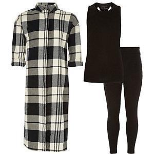 Girls black check shirt top leggings outfit