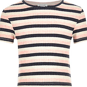 Girls pink stripe t-shirt