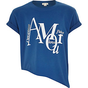 Girls blue slogan print asymmetric t-shirt