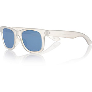 Kids blue wayfarer-style mirrored sunglasses