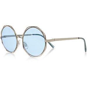 Girls blue hexagon sunglasses