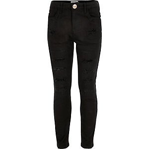 Girls black ripped skinny jeans