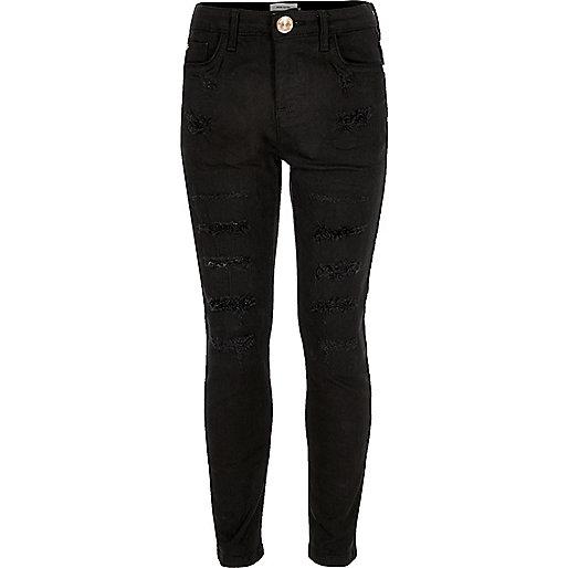 Girls black ripped skinny jeans