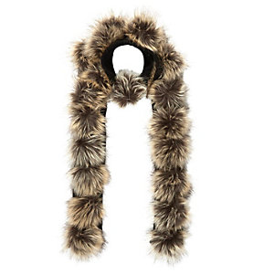 Girls brown pom pom scarf