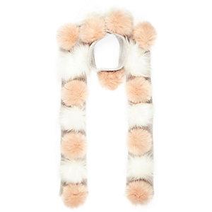 Girls cream pom pom scarf
