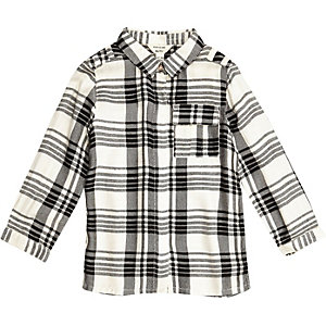 Mini girls cream check shirt